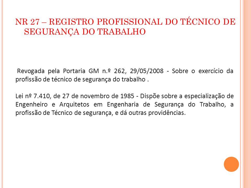 NR 27 – REGISTRO PROFISSIONAL DO TÉCNICO DE SEGURANÇA DO TRABALHO Revogada pela Portaria GM n.º 262, 29/05/2008 - Sobre o exercício da profissão de té