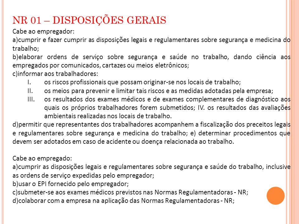 NR 01 – DISPOSIÇÕES GERAIS Cabe ao empregador: a)cumprir e fazer cumprir as disposições legais e regulamentares sobre segurança e medicina do trabalho