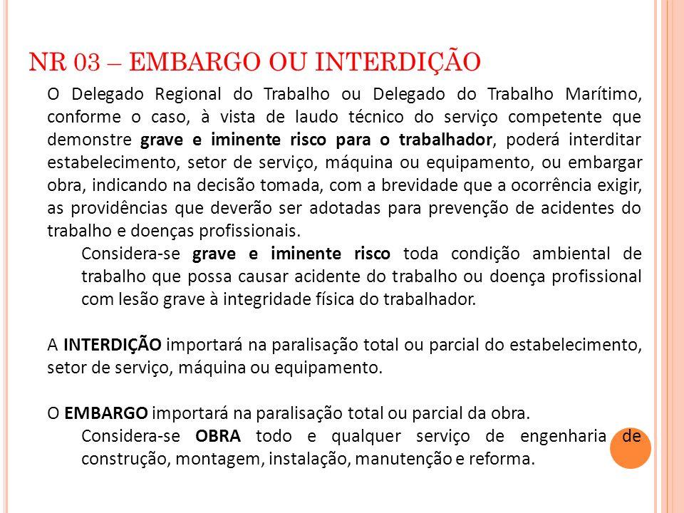NR 03 – EMBARGO OU INTERDIÇÃO O Delegado Regional do Trabalho ou Delegado do Trabalho Marítimo, conforme o caso, à vista de laudo técnico do serviço c