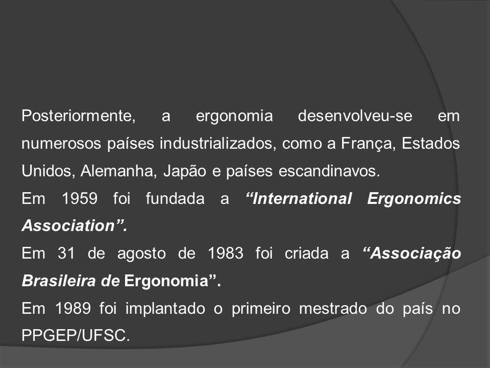Desenvolvimento atual da ergonomia Pode ser caracterizado segundo quatro níveis de exigências: As exigências tecnológicas: técnicas de produção As exigências econômicas: qualidade e custo de produção As exigências sociais: melhoria das condições de trabalho As exigências organizacionais: gestão participativa