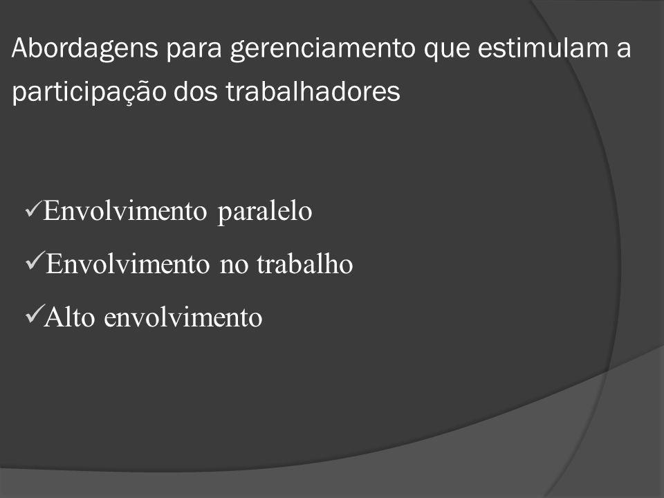 Envolvimento paralelo Os trabalhadores são questionados a visualizar e resolver problemas e produzir idéias que irão influenciar a operação do sistema organizacional.