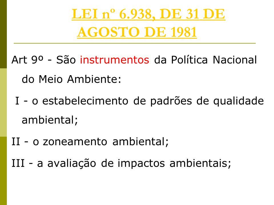 LEI nº 6.938, DE 31 DE AGOSTO DE 1981LEI nº 6.938, DE 31 DE AGOSTO DE 1981 Art 9º - São instrumentos da Política Nacional do Meio Ambiente: I - o estabelecimento de padrões de qualidade ambiental; II - o zoneamento ambiental; III - a avaliação de impactos ambientais;