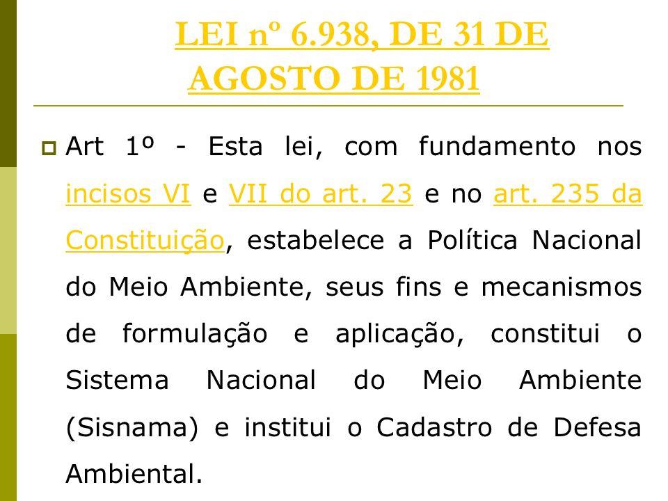LEI nº 6.938, DE 31 DE AGOSTO DE 1981LEI nº 6.938, DE 31 DE AGOSTO DE 1981 Art 1º - Esta lei, com fundamento nos incisos VI e VII do art.