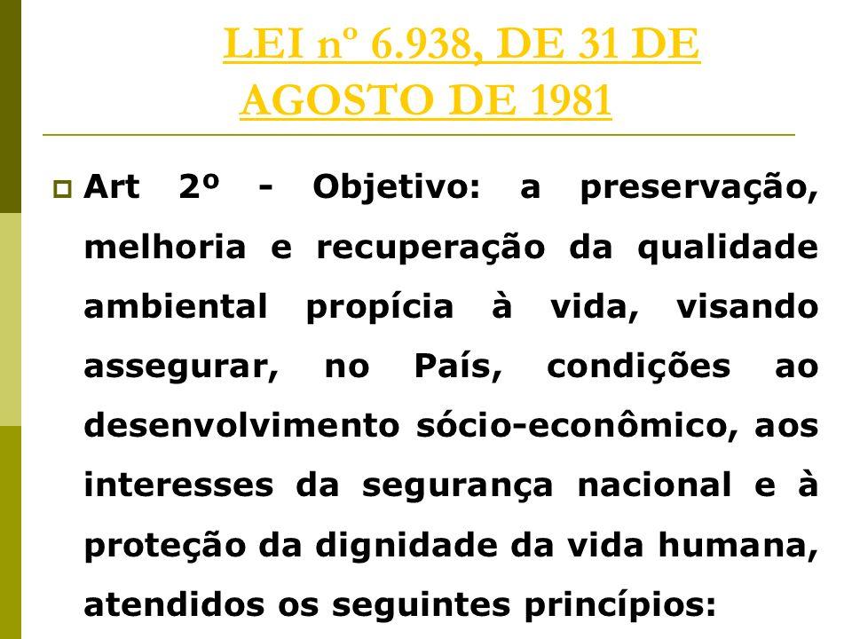 LEI nº 6.938, DE 31 DE AGOSTO DE 1981LEI nº 6.938, DE 31 DE AGOSTO DE 1981 Art 2º - Objetivo: a preservação, melhoria e recuperação da qualidade ambiental propícia à vida, visando assegurar, no País, condições ao desenvolvimento sócio-econômico, aos interesses da segurança nacional e à proteção da dignidade da vida humana, atendidos os seguintes princípios: