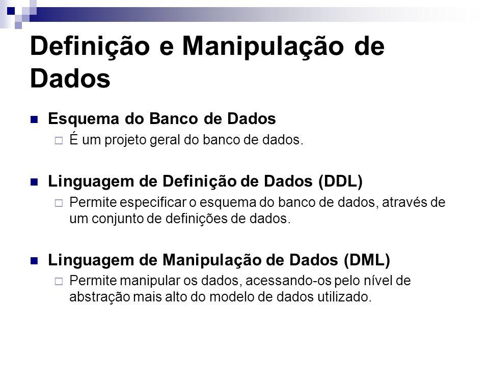 Definição e Manipulação de Dados Esquema do Banco de Dados É um projeto geral do banco de dados. Linguagem de Definição de Dados (DDL) Permite especif