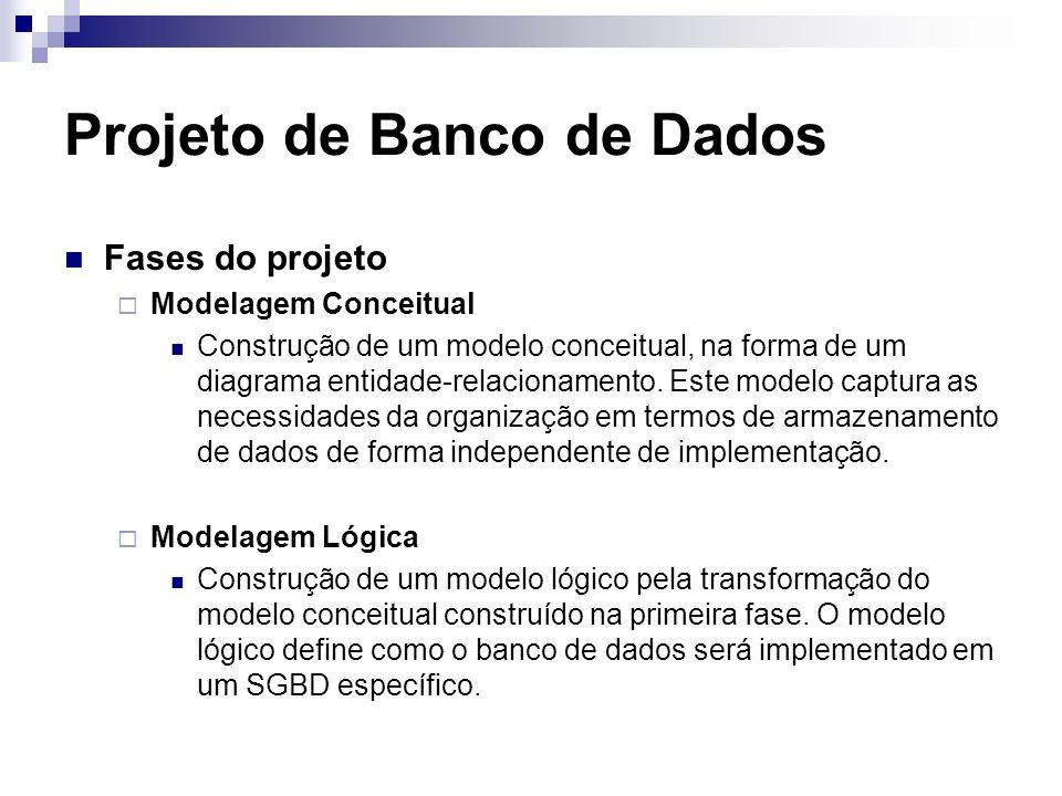 Projeto de Banco de Dados Fases do projeto Modelagem Conceitual Construção de um modelo conceitual, na forma de um diagrama entidade-relacionamento. E
