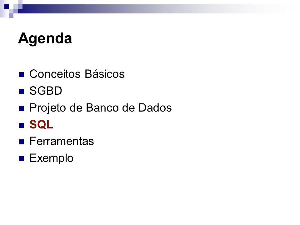 Agenda Conceitos Básicos SGBD Projeto de Banco de Dados SQL Ferramentas Exemplo
