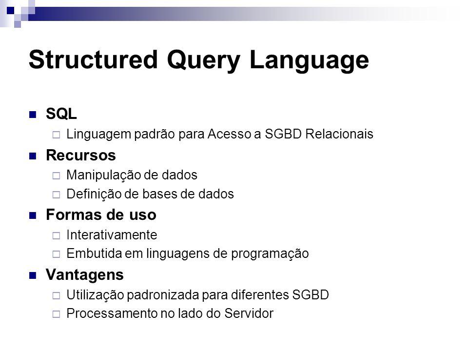 Structured Query Language SQL Linguagem padrão para Acesso a SGBD Relacionais Recursos Manipulação de dados Definição de bases de dados Formas de uso