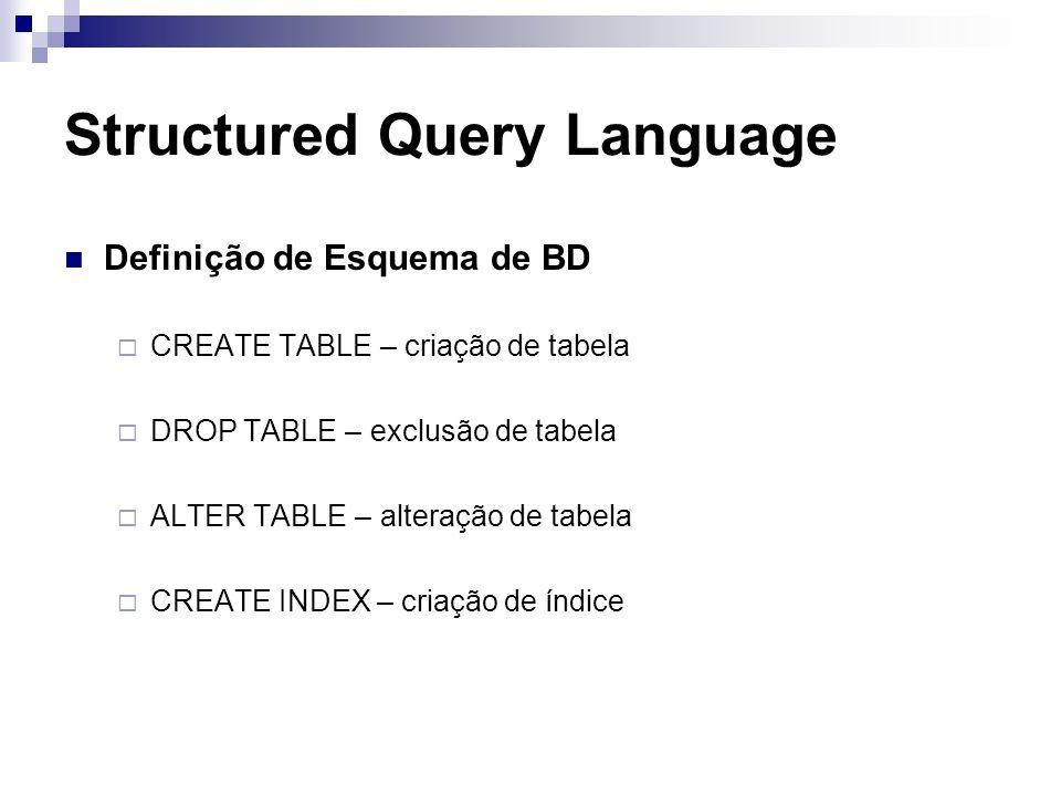 Structured Query Language Definição de Esquema de BD CREATE TABLE – criação de tabela DROP TABLE – exclusão de tabela ALTER TABLE – alteração de tabel