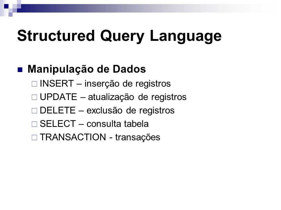 Structured Query Language Manipulação de Dados INSERT – inserção de registros UPDATE – atualização de registros DELETE – exclusão de registros SELECT