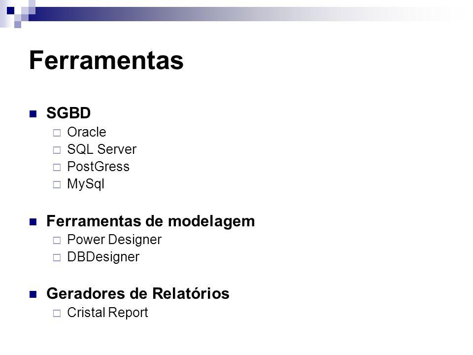 Ferramentas SGBD Oracle SQL Server PostGress MySql Ferramentas de modelagem Power Designer DBDesigner Geradores de Relatórios Cristal Report
