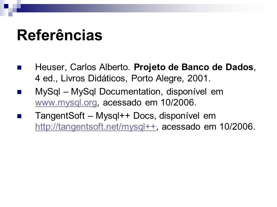 Referências Heuser, Carlos Alberto. Projeto de Banco de Dados, 4 ed., Livros Didáticos, Porto Alegre, 2001. MySql – MySql Documentation, disponível em
