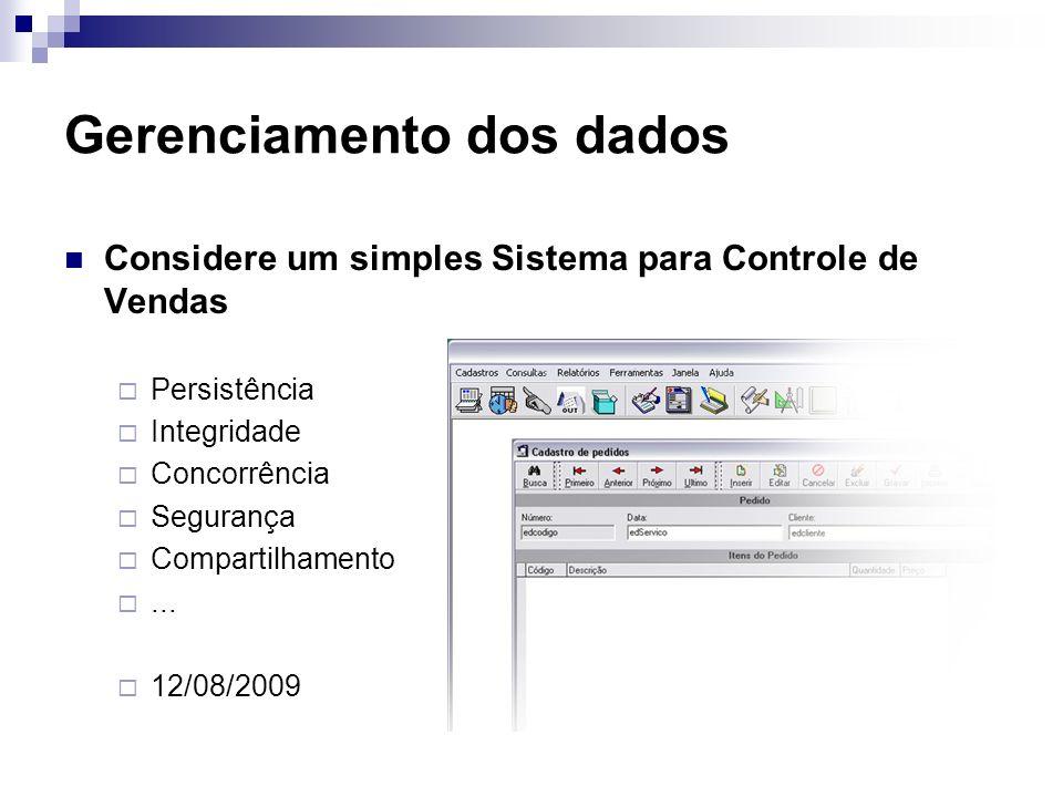 Gerenciamento dos dados Considere um simples Sistema para Controle de Vendas Persistência Integridade Concorrência Segurança Compartilhamento... 12/08