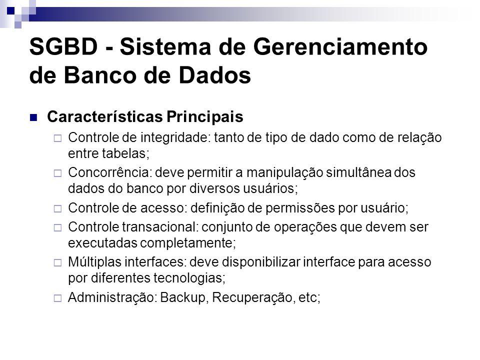 SGBD - Sistema de Gerenciamento de Banco de Dados Características Principais Controle de integridade: tanto de tipo de dado como de relação entre tabe