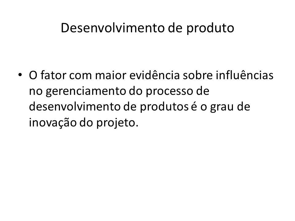 Desenvolvimento de produto O fator com maior evidência sobre influências no gerenciamento do processo de desenvolvimento de produtos é o grau de inova