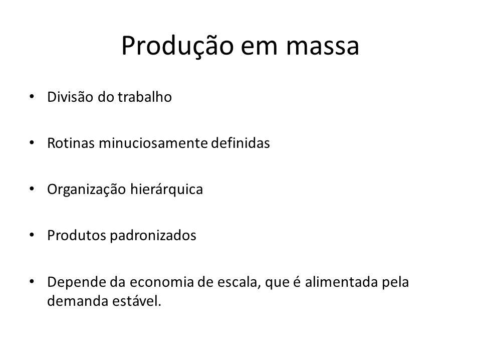 Produção em massa Divisão do trabalho Rotinas minuciosamente definidas Organização hierárquica Produtos padronizados Depende da economia de escala, que é alimentada pela demanda estável.
