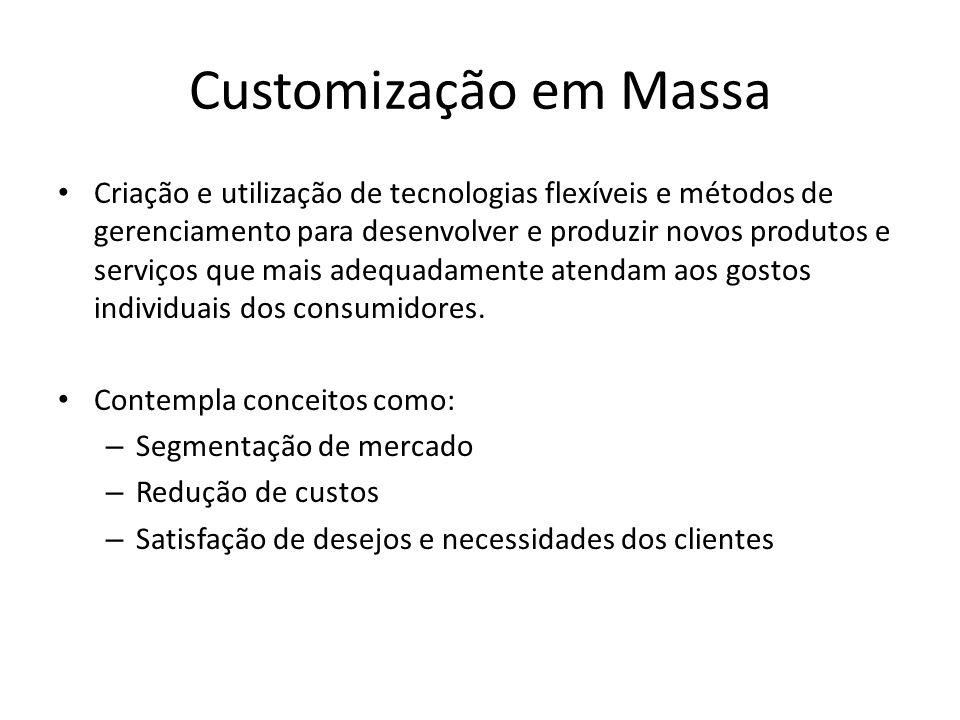 Customização em Massa Criação e utilização de tecnologias flexíveis e métodos de gerenciamento para desenvolver e produzir novos produtos e serviços que mais adequadamente atendam aos gostos individuais dos consumidores.