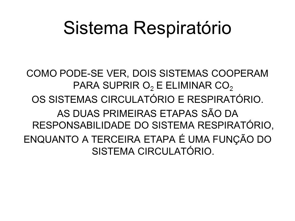 Sistema Respiratório COMO PODE-SE VER, DOIS SISTEMAS COOPERAM PARA SUPRIR O 2 E ELIMINAR CO 2 OS SISTEMAS CIRCULATÓRIO E RESPIRATÓRIO. AS DUAS PRIMEIR