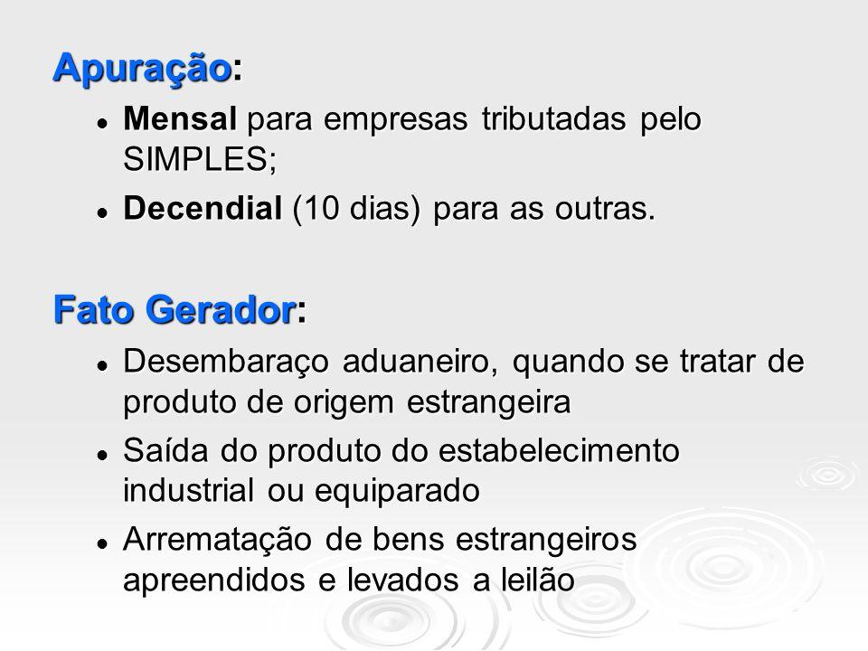 Apuração: Mensal para empresas tributadas pelo SIMPLES; Mensal para empresas tributadas pelo SIMPLES; Decendial (10 dias) para as outras. Decendial (1