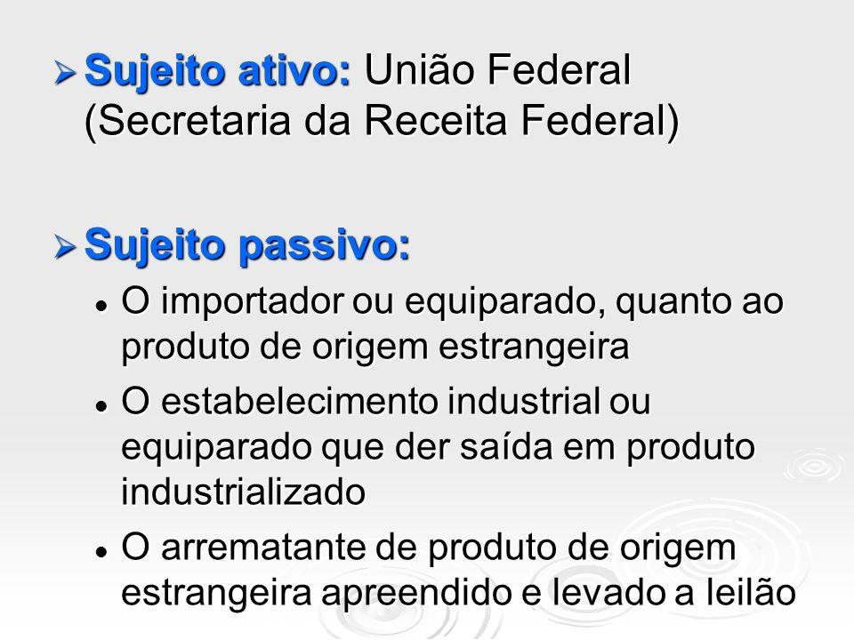 Sujeito ativo: União Federal (Secretaria da Receita Federal) Sujeito ativo: União Federal (Secretaria da Receita Federal) Sujeito passivo: Sujeito pas