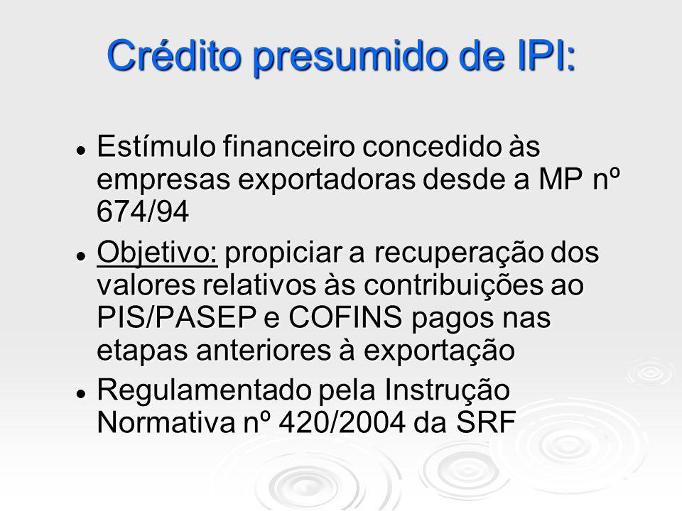 Crédito presumido de IPI: Estímulo financeiro concedido às empresas exportadoras desde a MP nº 674/94 Estímulo financeiro concedido às empresas export