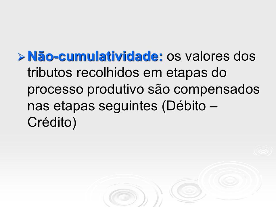 Não-cumulatividade: os valores dos tributos recolhidos em etapas do processo produtivo são compensados nas etapas seguintes (Débito – Crédito) Não-cum