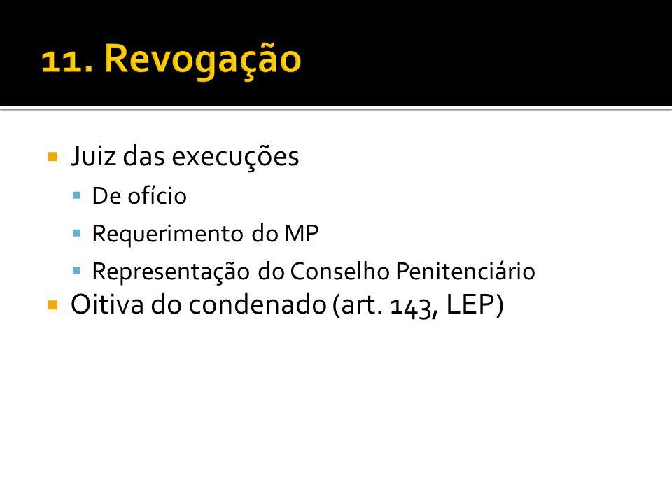 Juiz das execuções De ofício Requerimento do MP Representação do Conselho Penitenciário Oitiva do condenado (art. 143, LEP)