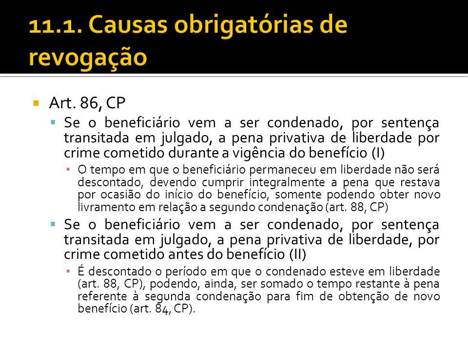Art. 86, CP Se o beneficiário vem a ser condenado, por sentença transitada em julgado, a pena privativa de liberdade por crime cometido durante a vigê