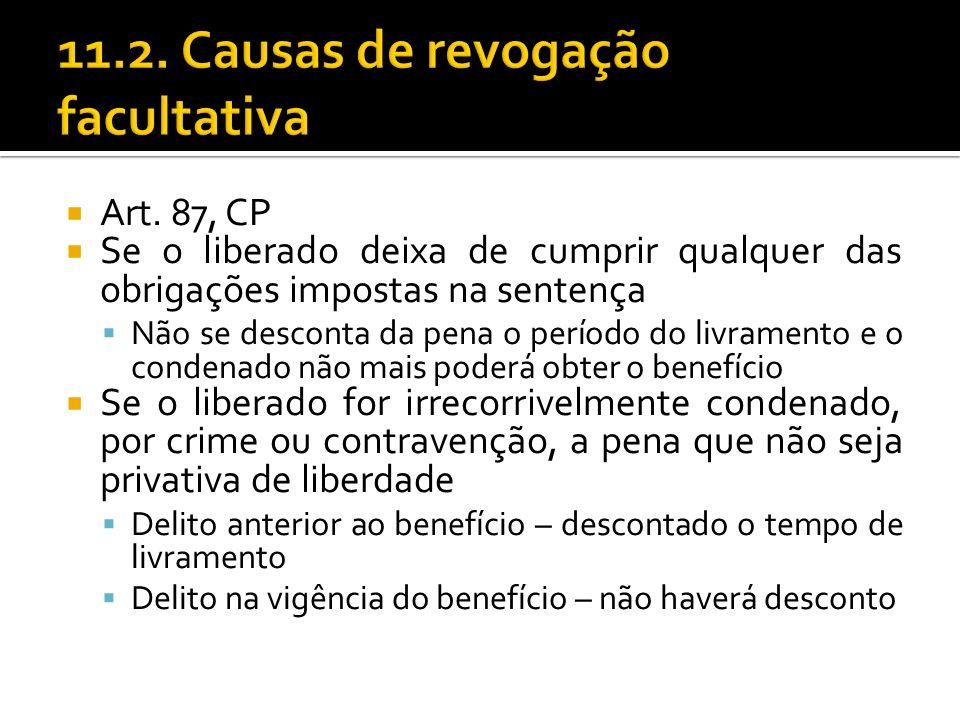Art. 87, CP Se o liberado deixa de cumprir qualquer das obrigações impostas na sentença Não se desconta da pena o período do livramento e o condenado