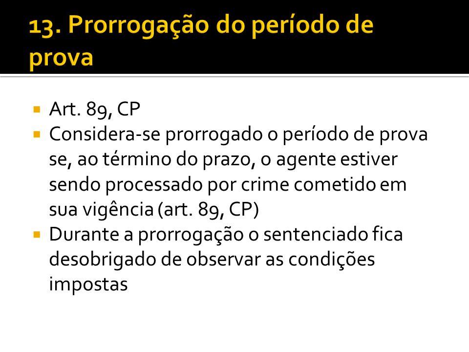 Art. 89, CP Considera-se prorrogado o período de prova se, ao término do prazo, o agente estiver sendo processado por crime cometido em sua vigência (