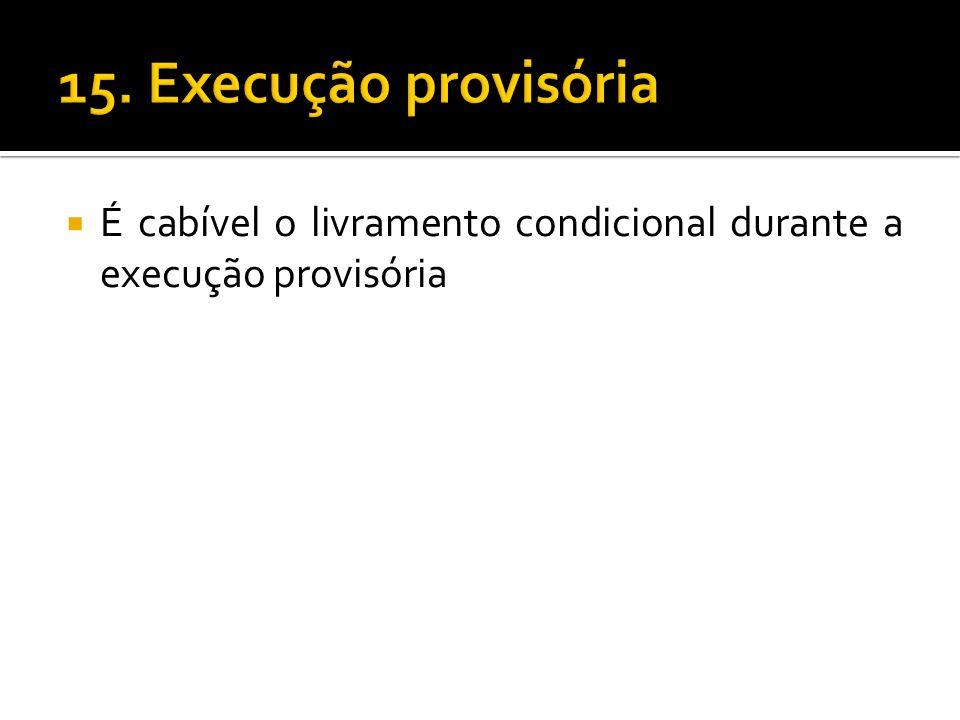 É cabível o livramento condicional durante a execução provisória