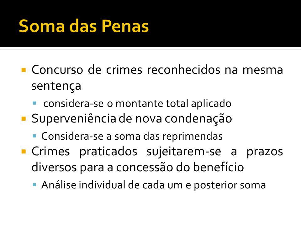 Concurso de crimes reconhecidos na mesma sentença considera-se o montante total aplicado Superveniência de nova condenação Considera-se a soma das rep