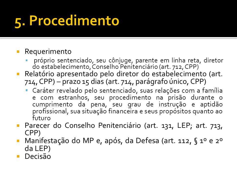 Requerimento próprio sentenciado, seu cônjuge, parente em linha reta, diretor do estabelecimento, Conselho Penitenciário (art. 712, CPP) Relatório apr