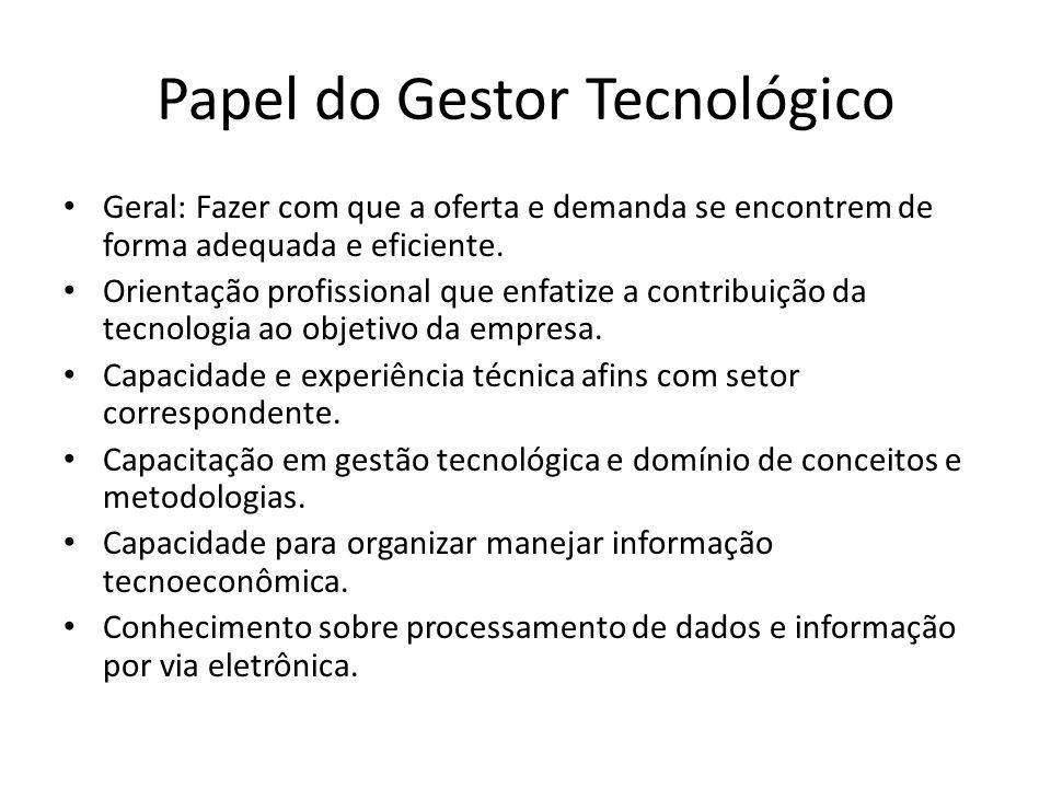 Papel do Gestor Tecnológico Geral: Fazer com que a oferta e demanda se encontrem de forma adequada e eficiente.