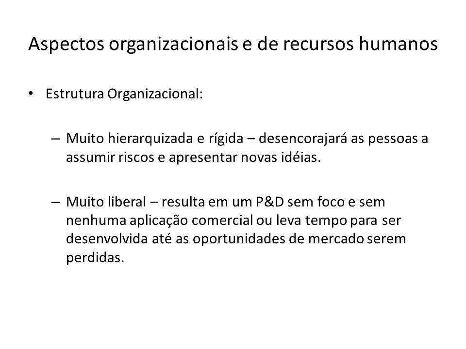 Aspectos organizacionais e de recursos humanos Estrutura Organizacional: – Muito hierarquizada e rígida – desencorajará as pessoas a assumir riscos e apresentar novas idéias.