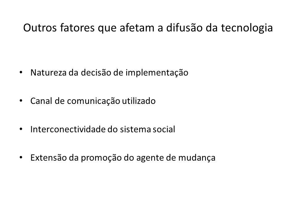 Outros fatores que afetam a difusão da tecnologia Natureza da decisão de implementação Canal de comunicação utilizado Interconectividade do sistema social Extensão da promoção do agente de mudança