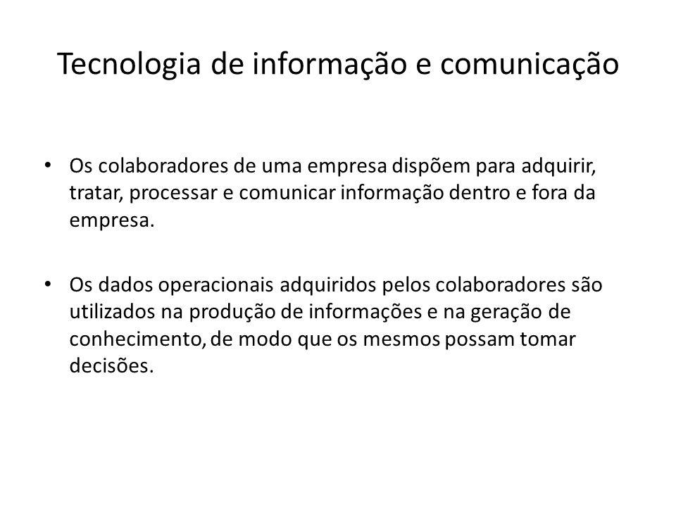Áreas primárias da Tecnologia Observação A tecnologia de produto de uma empresa, (computadores), pode fazer parte da tecnologia de processo de outra, (máquinas de comando numérico), e da tecnologia de informação de outra, (banco de dados em rede).