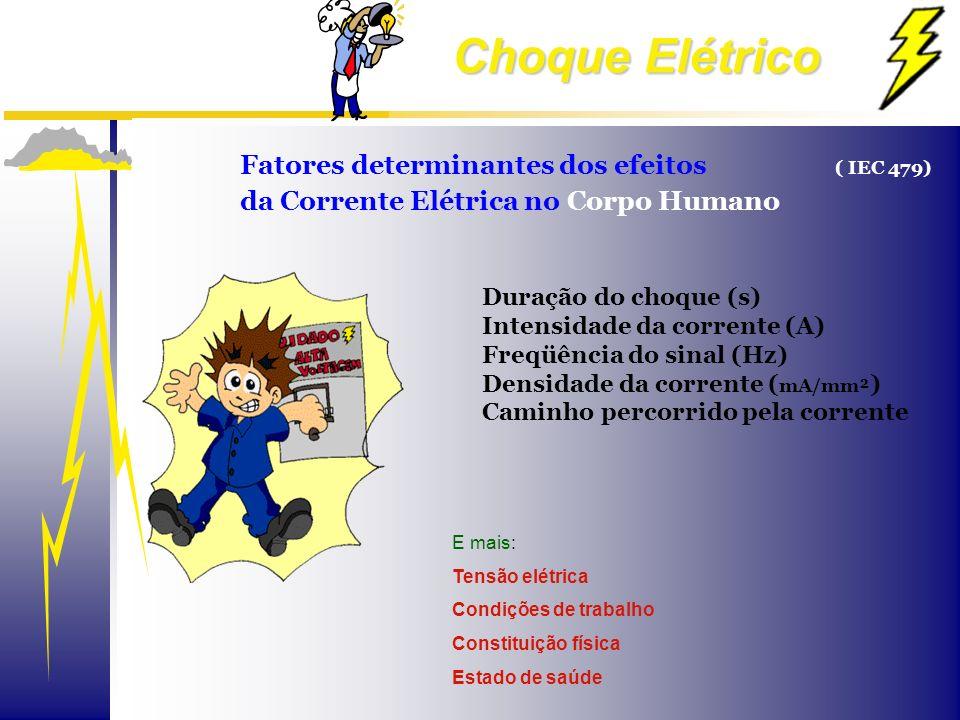 Choque Elétrico Fatores determinantes dos efeitos ( IEC 479) da Corrente Elétrica no Corpo Humano E mais: Tensão elétrica Condições de trabalho Consti