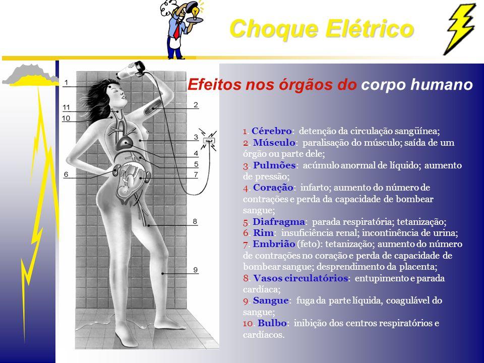 Choque Elétrico 1. Cérebro: detenção da circulação sangüínea; 2. Músculo: paralisação do músculo; saída de um órgão ou parte dele; 3. Pulmões: acúmulo