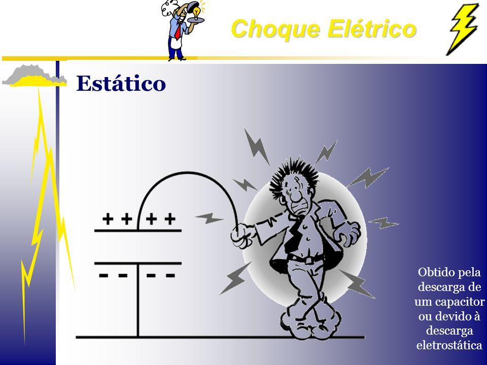 Choque Elétrico Obtido pela descarga de um capacitor ou devido à descarga eletrostática Estático