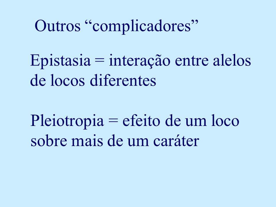 Outros complicadores Epistasia = interação entre alelos de locos diferentes Pleiotropia = efeito de um loco sobre mais de um caráter