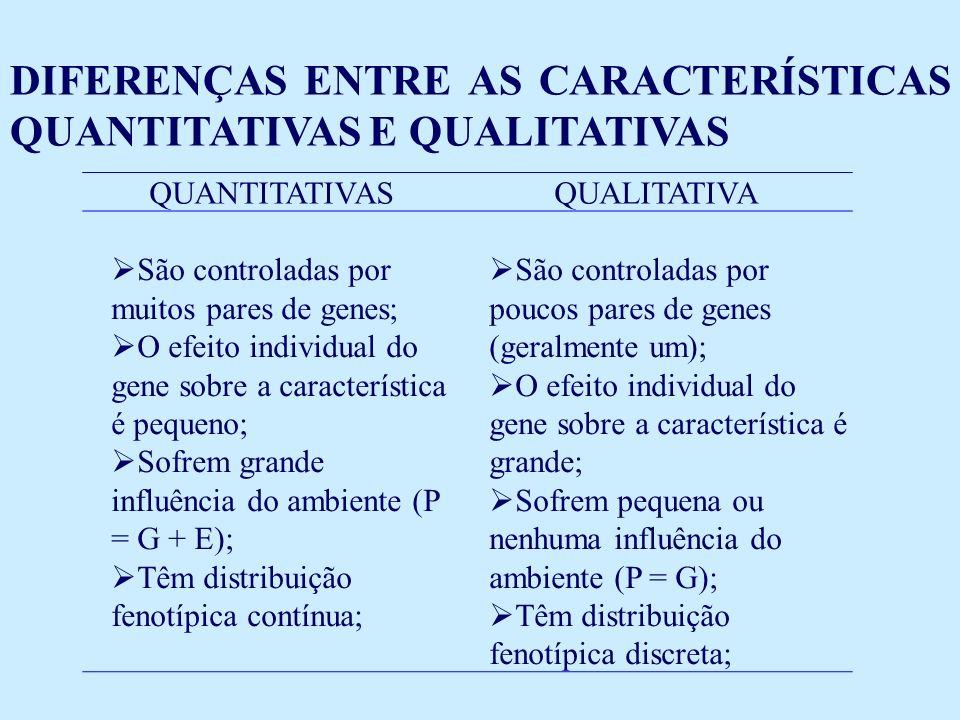 QUANTITATIVASQUALITATIVA São controladas por muitos pares de genes; O efeito individual do gene sobre a característica é pequeno; Sofrem grande influência do ambiente (P = G + E); Têm distribuição fenotípica contínua; São controladas por poucos pares de genes (geralmente um); O efeito individual do gene sobre a característica é grande; Sofrem pequena ou nenhuma influência do ambiente (P = G); Têm distribuição fenotípica discreta; DIFERENÇAS ENTRE AS CARACTERÍSTICAS QUANTITATIVAS E QUALITATIVAS
