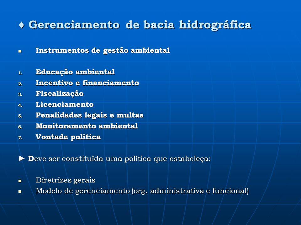 Instrumentos de gestão ambiental Instrumentos de gestão ambiental 1. Educação ambiental 2. Incentivo e financiamento 3. Fiscalização 4. Licenciamento