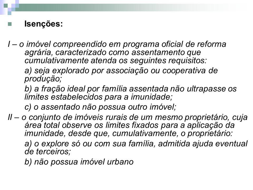 Isenções: I – o imóvel compreendido em programa oficial de reforma agrária, caracterizado como assentamento que cumulativamente atenda os seguintes re