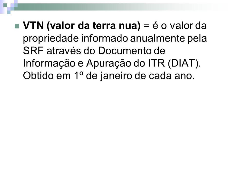 VTN (valor da terra nua) = é o valor da propriedade informado anualmente pela SRF através do Documento de Informação e Apuração do ITR (DIAT). Obtido