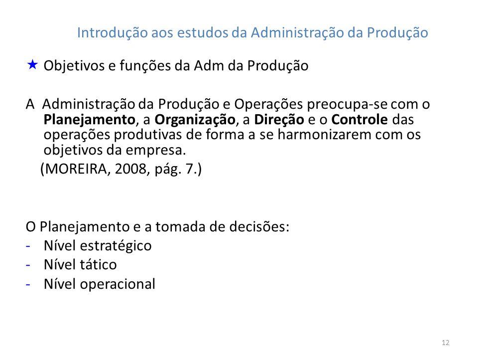 12 Introdução aos estudos da Administração da Produção Objetivos e funções da Adm da Produção A Administração da Produção e Operações preocupa-se com