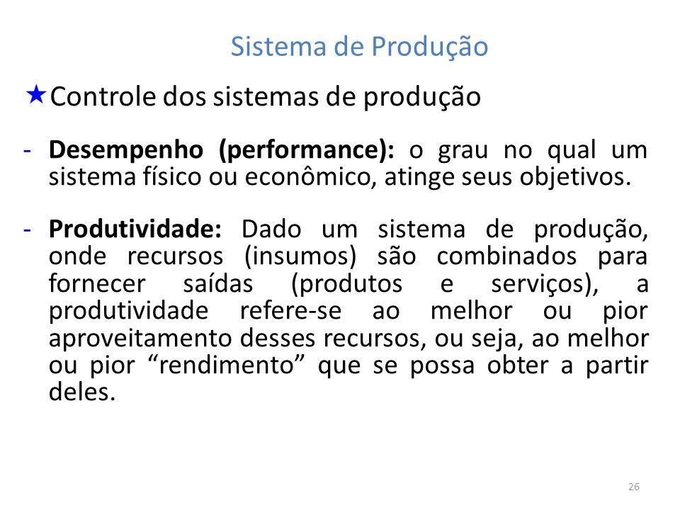 26 Sistema de Produção Controle dos sistemas de produção -Desempenho (performance): o grau no qual um sistema físico ou econômico, atinge seus objetiv