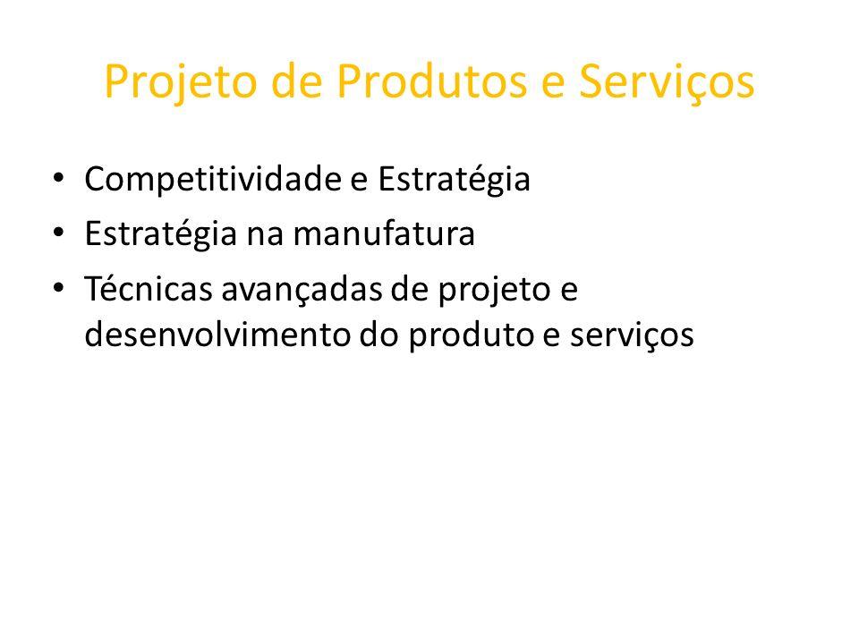 Projeto de Produtos e Serviços Competitividade e Estratégia Estratégia na manufatura Técnicas avançadas de projeto e desenvolvimento do produto e serv