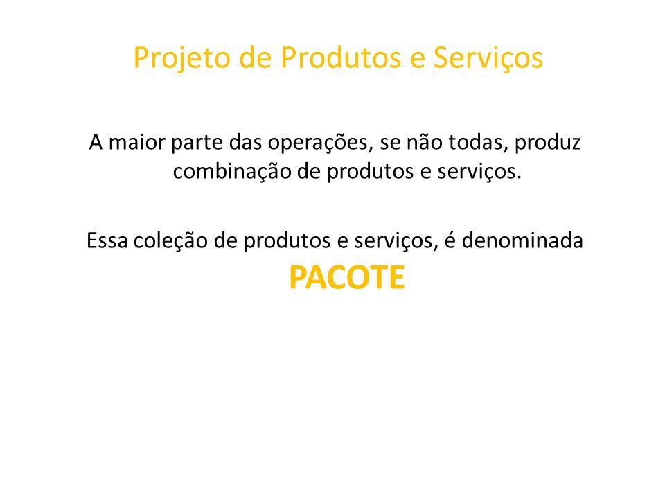 Projeto de Produtos e Serviços A maior parte das operações, se não todas, produz combinação de produtos e serviços. Essa coleção de produtos e serviço