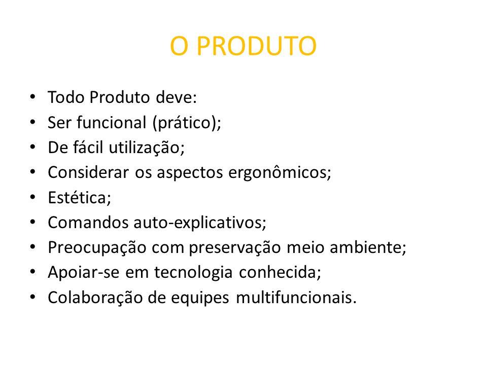 O PRODUTO Todo Produto deve: Ser funcional (prático); De fácil utilização; Considerar os aspectos ergonômicos; Estética; Comandos auto-explicativos; P